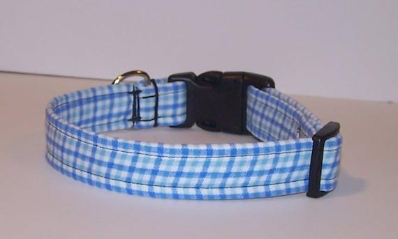 Wet Nose Designs Mad For Plaid Boyish Blue Plaid Dog Collar Tweed