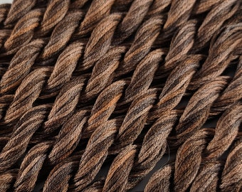Hand-Dyed DMC Floss ~ 100% Cotton Cross Stitch Embroidery Floss Skein Variegated Thread Yarn ~ 10 Yard ~ Chocolate Brown ~ Color # 07