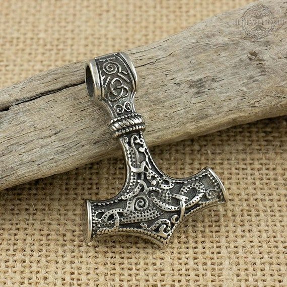 Stainless Steel Viking Thor/'s Hammer With Gold Trim Pendant Only