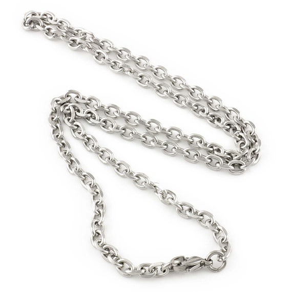 Stainless Steel Faceted Cable Chain Necklace 4.5mm and 5.2mm Thickness