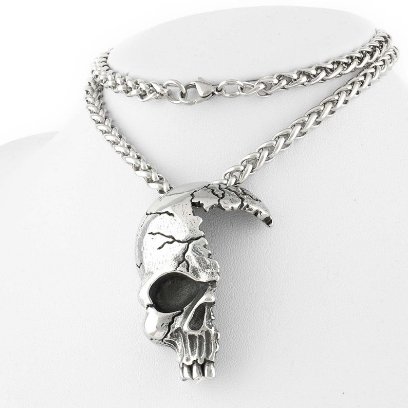 Gothic Half Skull Necklace Stainless Steel Jewellery image 0