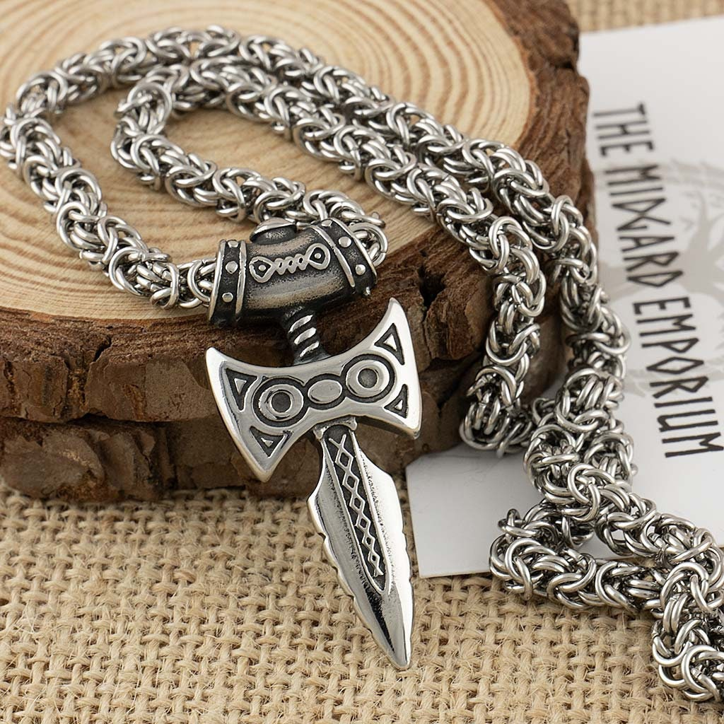 Amulet Of Talos skyrim amulet of talos viking sword stainless steel pendant with byzantine  chain necklace