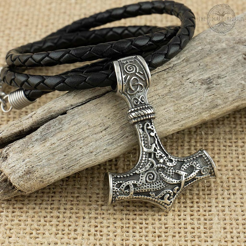 Viking Thors Hammer Norse Mjolnir Stainless Steel Pendant With Leather Necklace