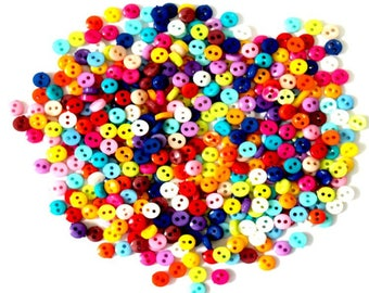 50 pcs micro button, mixed color, tiny buttons, colorful, 6mm