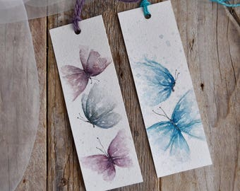 Hand-painted bookmark with butterflies watercolor, illustration, single piece.