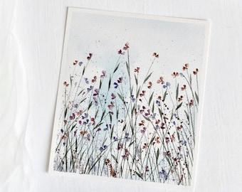 Meadow with flowers, original handmade painting