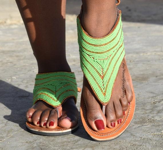 SandalAfrica Bohemian Zulu Tribal ShoeBead Ethnic Sandal Leather SandalsWoman Tl1FJcK3