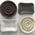 White and Brown Ceramic Soap Dishes - handmade