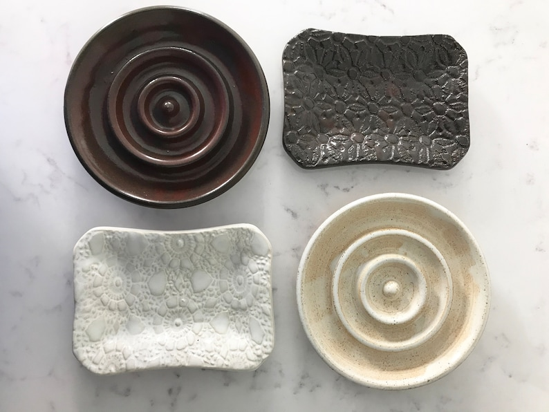White and Brown Ceramic Soap Dishes  handmade image 0