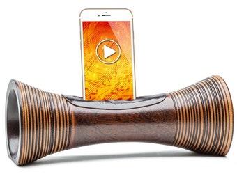 ENCEINTE en bois Sans fil ni Bluetooth pour TELEPHONE station d'accueil Iphone haut-parleur en bois amplificateur de son pour smartphone
