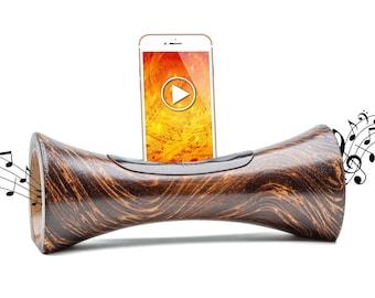 AMPLIFICATEUR en bois pour smartphone enceinte acoustique sans fil sans bluetooth NATURELLE haut-parleur iphone