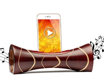 Amplificateur naturel de son en bois pour téléphone cadeau original enceinte acoustique sans fil station d'accueil enceinte iPhone en bois