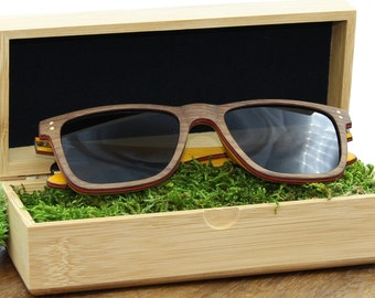 SOLEIL MEN's LUNETTES pair of polarized wooden sunglasses Protection UV400 handmade wood frames eco-friendly