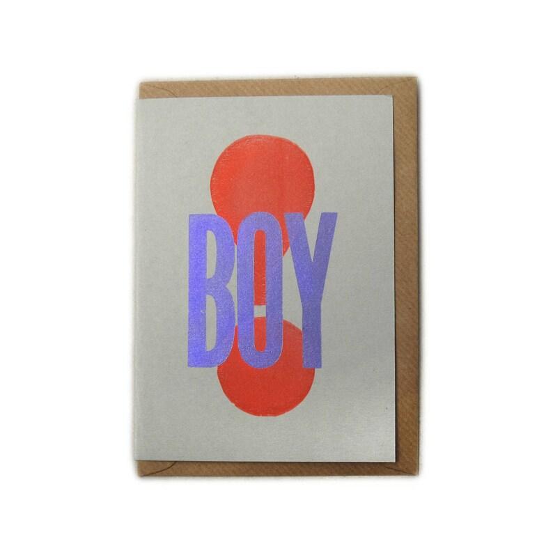 Letterpress Printed BOY Greetings Card