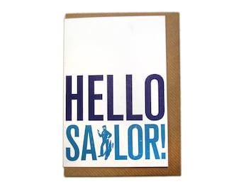Letterpress Printed Hello Sailor Greetings Card