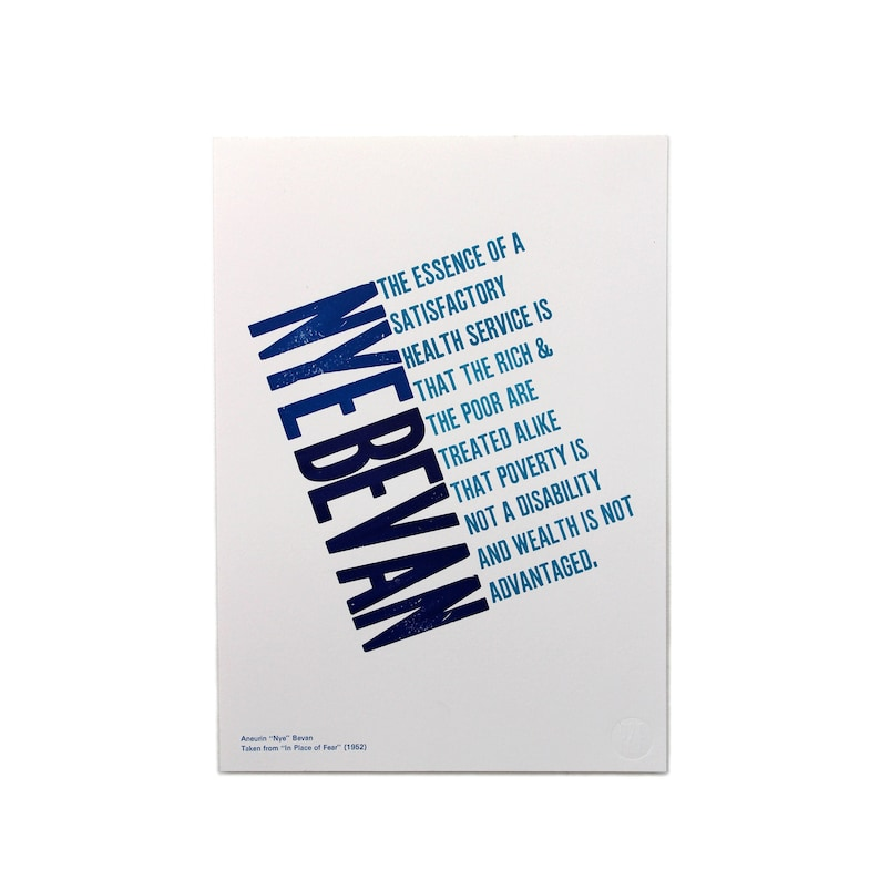 Letterpress Nye Bevan NHS 70'th Anniversary Limited image 0