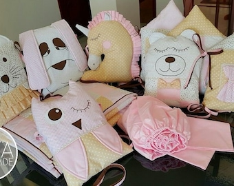 Personalized Blanket Gender Neutral Nursery Farm Animal Sheet Bunny Rabbit Rail Cover Taupe Plaid Skirt Baby Animals Crib Bedding Set
