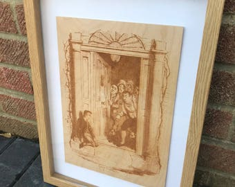 Oliver Twist!  Engraving of book illustration onto birch plywood.  Unique Wood Wall Art!