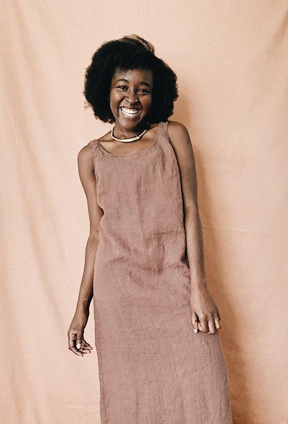Brown Linen Maxi Dress // Minimalist