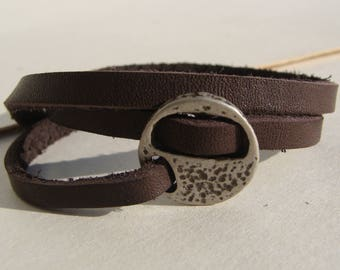 Round clasp for a single lace flat 5 mm leather