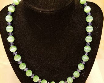 Green and purple bead and crystal necklace