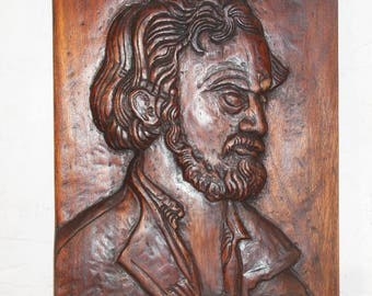 Wood Wall Sculpture, Hand-Carved Wood Relief