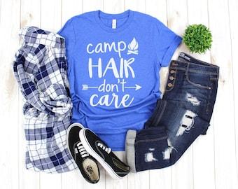 48c857553 Camp Hair Don't Care shirt / Crew Neck, V Neck, Long Sleeve OR Raglan  Available / Camping shirt / Funny Camping shirt / Camper Gift