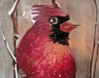 Cardinal in Snow-Mason Jar Art