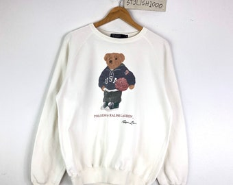 Ralph Lauren POLO BEAR Player Tee T Shirt Blue Sz L LARGE RARE LIMITED EDITION