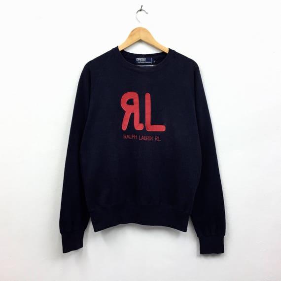 Hop Ralph Polo Sweatshirt Pullover Lo Hip Vintage life Swag RL Sweatshirt Lauren Black Rare Biglogo Jumper EqxP0150zw