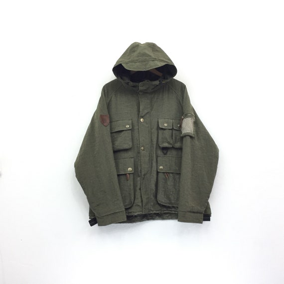 Jacket Parkas Tommy embroidery Rare Colour Rare Jacket Vintage Zipper Leather Hoodie patches Hilfiger zHH1cBvZ8