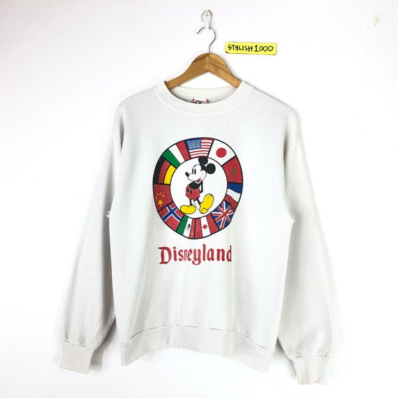 Rare!!Vintage Mickey Sweatshirt Flags Mickey Mouse
