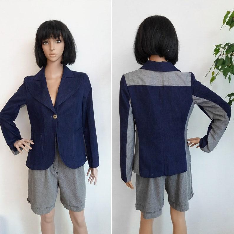 1970s Vintage Blazer Navy Blue Women/'s Size about M