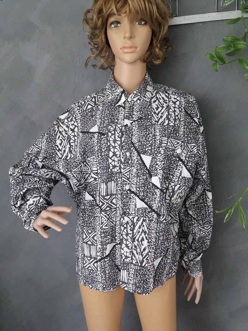 Speed Vintage Cotton Shirt Black White Oversize Bat Sleeve Printed Women/'s Blouse size around Large