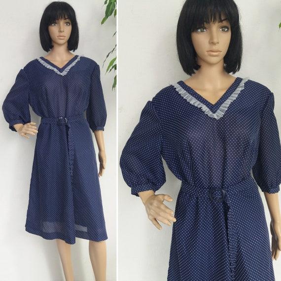 Vintage Polka Dot Dress Navy Blue 30s or 70s Dress