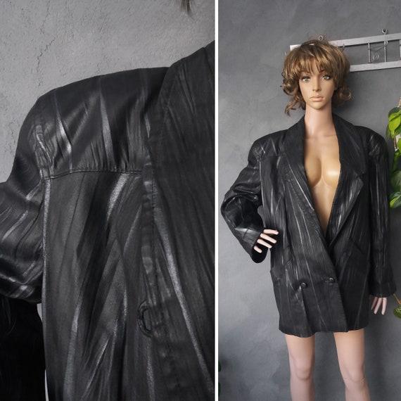 Vintage Leather Blazer Black Silver Wrinkled 80s J