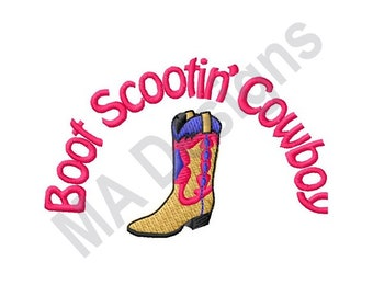 Boot Scootin  Cowboy - Machine Embroidery Design b9ae591d716