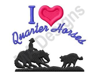 Love Quarter Horses - Machine Embroidery Design, Horses