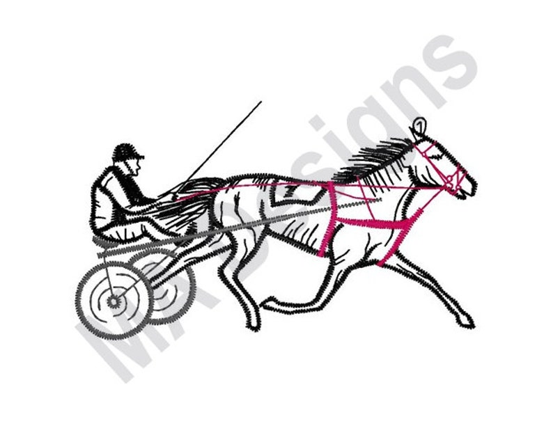 Horse Cart Machine Embroidery Design Harness Race