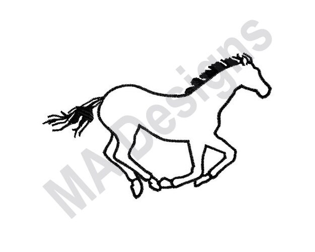 Horse Outline Machine Embroidery Design