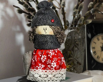 Cloth doll rag doll textile hand made doll