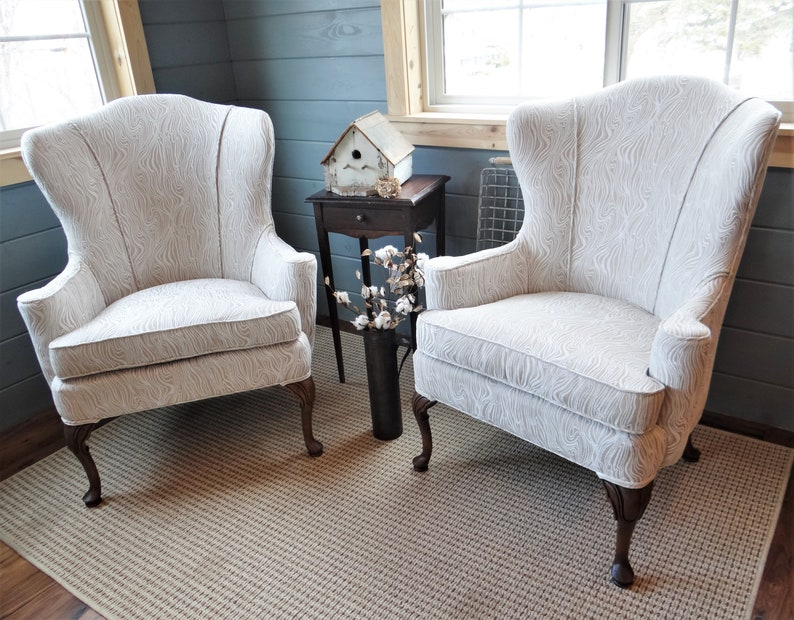 Pair Of Matching Tall Vintage Swoop Wingback Accent Chairs Restored In  Birch Wood Grain Chenille * Farmhouse Country Earthy Chic
