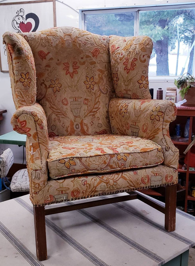 Custom Order For Maria Antique Over Sized Wingback Chair For Restoration Reupholstery Custom Design