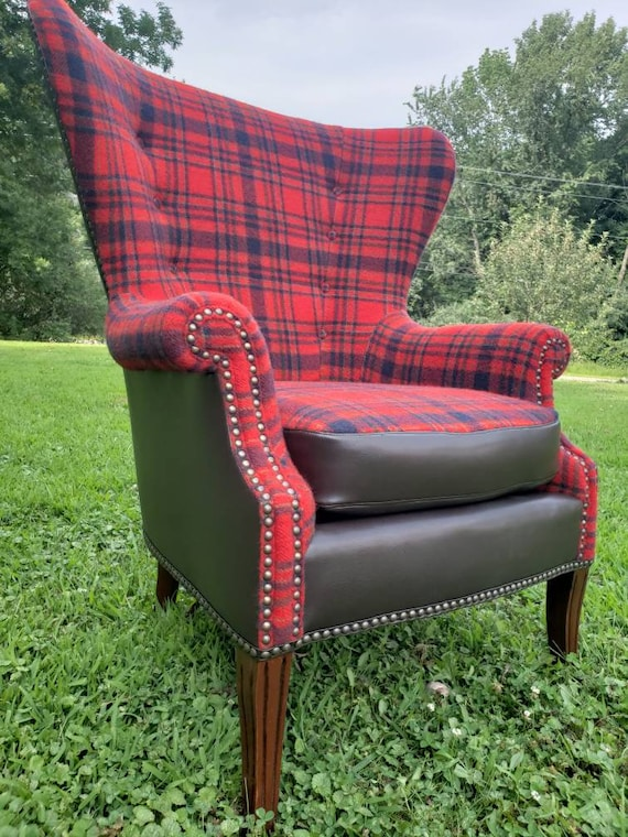 Astounding Sold Custom Re Create Restored Vintage Pendleton Plaid Accent Wingback Chair Gmtry Best Dining Table And Chair Ideas Images Gmtryco