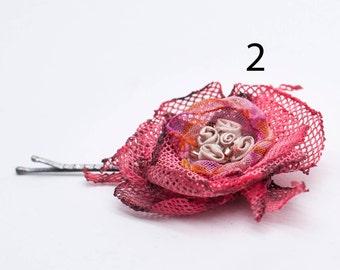 Handmade Hair flower, Wedding headpiece, Purple wedding Hair flower, Bridal accessories, Flower hair pins, small flower, Floral hair clips