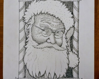 Saint Nick postcard original drawing
