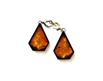 Earrings made of amber and Gagat