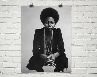 Nina Simone Poster - Retro Music Poster - Music Print - Wall Art - Home Decor - Premium Semi-Gloss Photo Paper Poster
