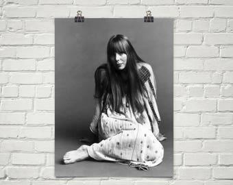 Joni Mitchell 1968 Poster - Retro Music Poster - Music Print - Wall Art - Bohemian Decor - Premium Semi-Gloss Photo Paper Poster