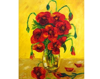 Painting, painting, oil painting, painting poppy painting, painting knife, Bouquet of flowers